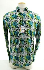 Robert-Graham-Hannam-NWT-198-Men-039-s-Dress-Shirt-Sz-Small-Flip-Cuff-Aliens-Black