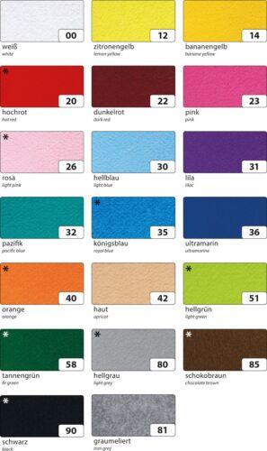Folia Bastelfilz 150g//m² Farben auswählen 20 x 30cm 10 Bogen zum Basteln