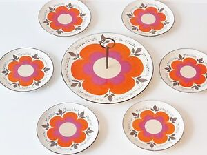 Service A Fromages Harmonie Gien France Flower Power Vtg Vintage Pop 70's 70s