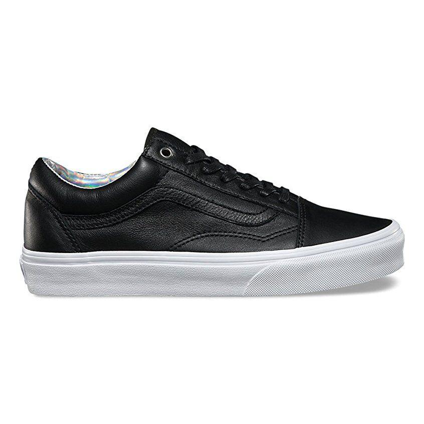 VANS Old Skool (Hologram) Black/True White Leather WOMEN'S Skate Shoes
