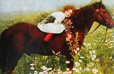 Oldfashioned girl on horse with flowers vintage art