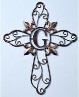 16 Inspirational Home Fleur De Lis Scroll Metal Wall Cross W Monogram Letter