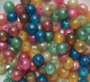 LOT-100 GLASS PEARL LUSTER FINISH BEADS MIXTURE-JEWELR<wbr/>Y MAKING SUPPLIES-9-10M<wbr/>M