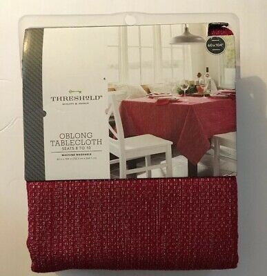 "Threshold Tablecloth Red Oblong 60x104/"" Fringe Country Farmhouse Cotton Red Xmas"