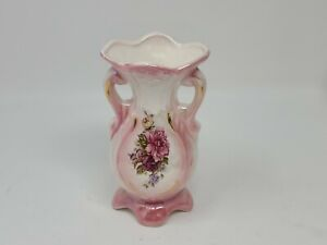 "Vintage Lusterware Floral Porcelain Vase 6"" Iridescent White Pink Gold Accent"