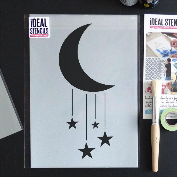 Luna Estrellas Cuarto de Bebé Plantilla Hogar Decoración Pintura Parojo Tela