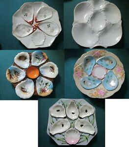 FRENCH-VINTAGE-ANTIQUE-POTTERY-MAJOLICA-OYSTER-PLATES-PICK-ONE