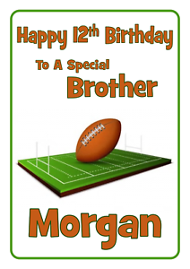 Image Is Loading Rugby Personalised A5 Birthday Card Son Dad Brother