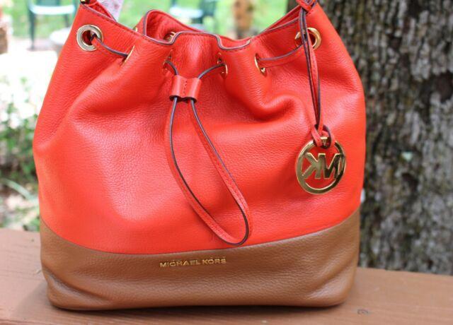 Michael Kors Jules Mandarin Luggage Drawstring Leather Shoulder Bag