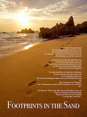 Footprints In The Sand Poster Print Christian Poem God Inspirational 18x24 Ebay