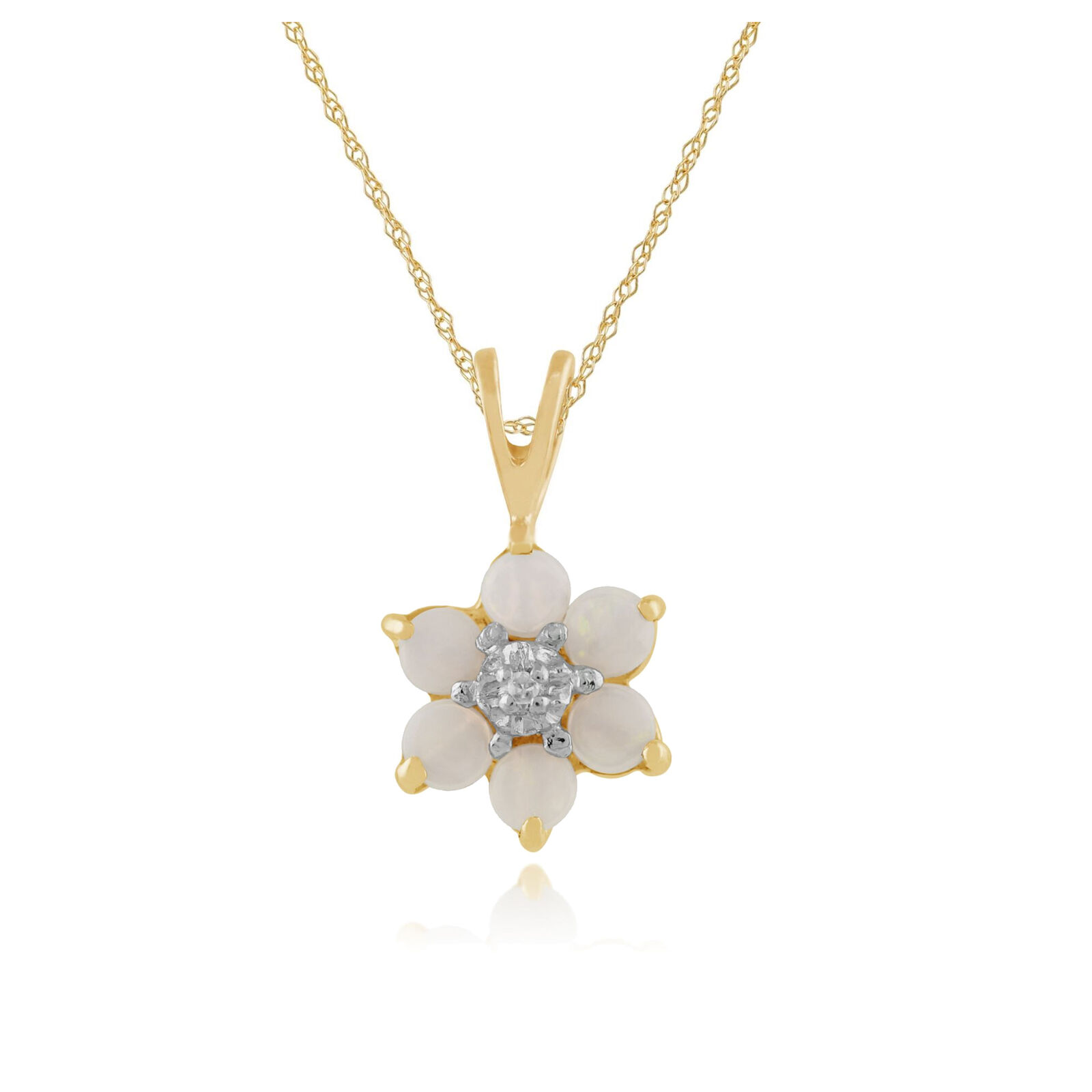 Gemondo 9ct Yellow gold 0.28ct Opal & Diamond Floral Pendant on Chain
