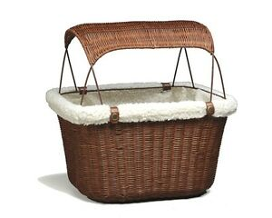 Wicker Bicycle Basket Pet Storage Puppy Ride Bike Canopy Dog Cat Carrier Safety