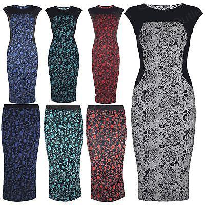 Bescheiden Womens Paisley Print Bodycon Dress Ladies Sleeveless Calf Length Midi Skirt Top