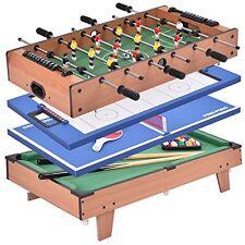 4 In 1 Pool Table Billiard Balls Cues Air Hockey Ping Pong Foosball Game  Room