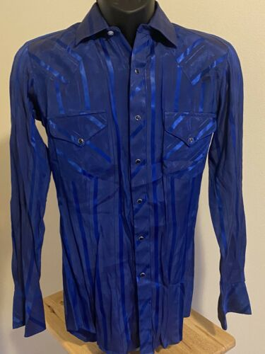 VTG Miller Long Sleeve Blue Pearl Button Down Sati