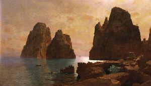 Charming-Oil-painting-Haseltine-William-Stanley-Isle-of-Capri-seascape-landscape