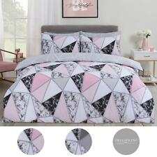 Dreamscene Marble Geometric Duvet Cover with Pillowcase Bedding Set Grey Blush