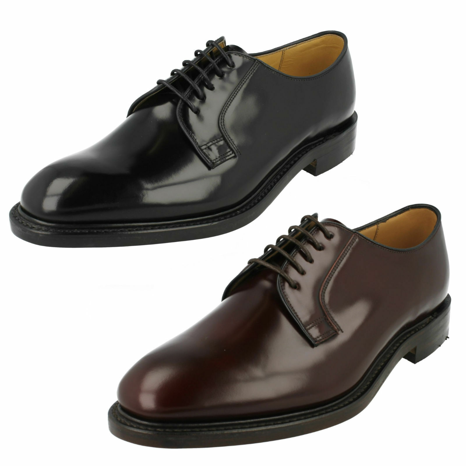 MENS LOAKE 771T 771B POLISHED LEATHER FORMAL GOODYEAR WELTED SOLE DERBY schuhe