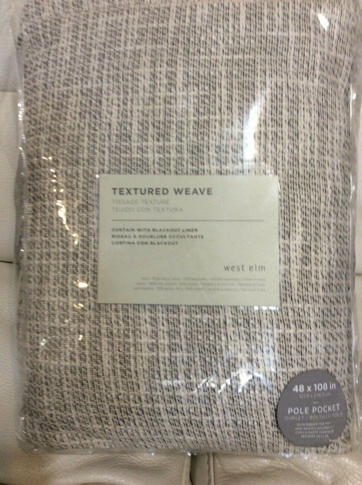 West elm un (1) Cortina de tejido con textura 48x108 Marfil revestimiento apagón  nuevo con etiquetas