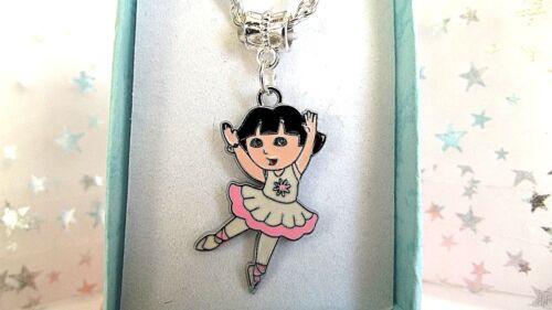 Collier Boîte Cadeau environ 40.64 cm Anniversaire Dora l/'exploratrice danse Plaqué Argent Chaîne 16 in