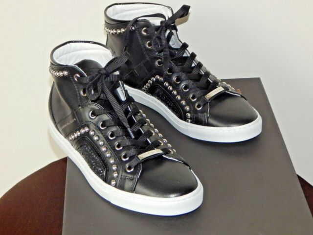 d8314ba188c NIB Alessandro Dell' Acqua Studded High-Top Leather Sneaker Shoe Black US  Size 8