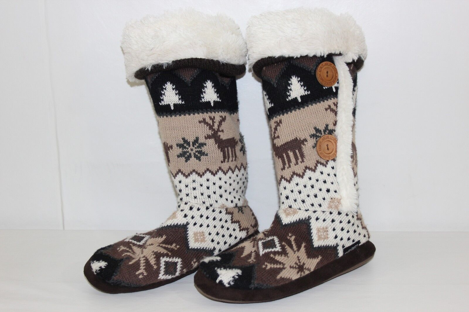 FREE SHIPPING Muk Luks Womens Sz 7-7.5 Brown White Knit Slip On Soft Sided Boots