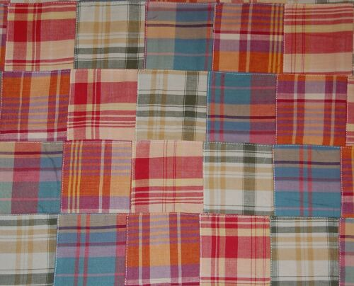 Three Chickadees Cotton Patchwork Madras Fabric by the Yard ~ Penfield Beach
