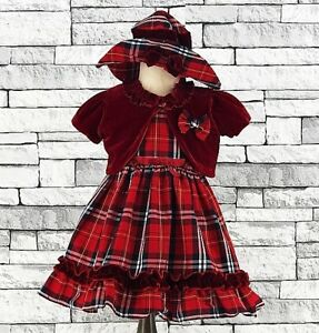 Baby-Girls-tartan-dress-Christening-red-velvet-bolero-Wedding-Pageant-Dress-a