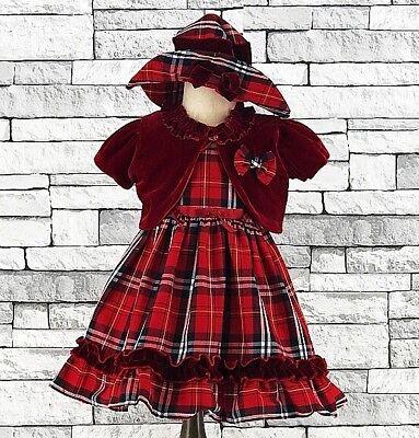 Obbiettivo Baby Ragazze Abito In Tartan Comprese Battesimo Red Velvet Bolero Abito Da Sposa Pageant Cappello-