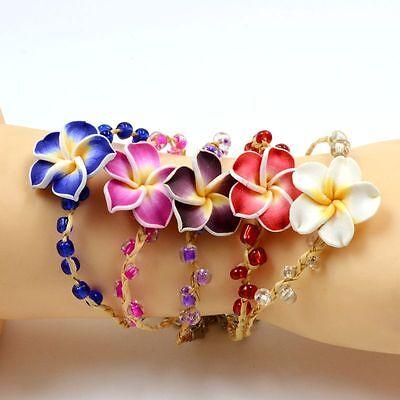 wholesale lot 12 pcs Hawaiian Multicolor Frangipani Flowers Girl&Lady's Bracelet