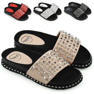 Womens-Flat-Studs-Diamante-Sliders-Sandals-Ladies-Holiday-Summer-Slip-On-Mules