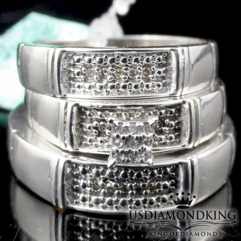 Men Ladies White gold Finish Princess Cut Trio Genuine Diamond Wedding Ring Set