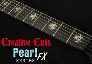 Biohazard Logo MOP /& BLACK PEARL Fret Markers Inlay Decals for BASS and GUITAR
