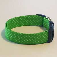 Charming Lime Green With White Polka Dots Dog Collar