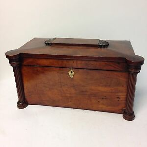 Large Antique Regency Mahogany Tea Caddy With Twist Pillar Decoration