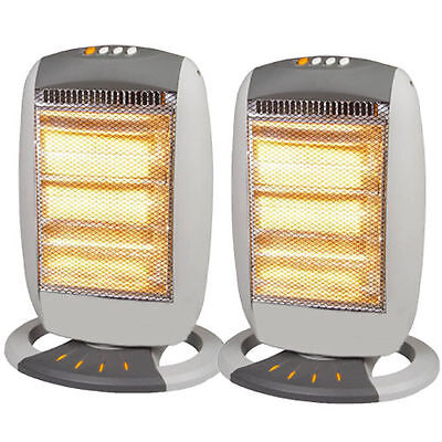 2 x PORTABLE ELECTRIC OSCILLATING HALOGEN HEATER 1200W 3 HEAT SETTING HOT HEAT