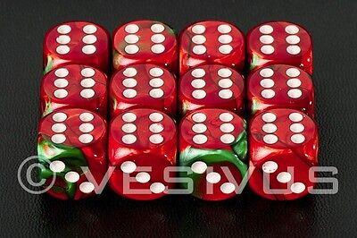 DICE Chessex Gemini RED/GREEN 12d6 d6 Block Set Marble Christmas Game OOP 26631