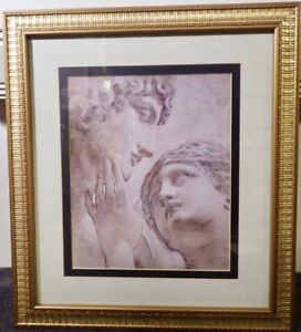 Modern Home Decor Antique Roman Couple Print In Heavy Gilded