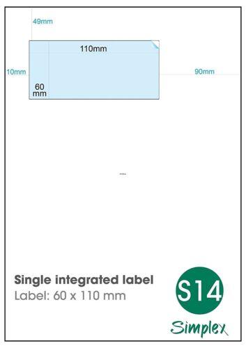 Royal Mail Click /& Drop labels-etichetta integrato singolo, S14
