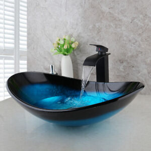 Us Oval Tempered Glass Vessel Sink Faucet Bathroom Pop Up Drain Combo Tap Set Ebay