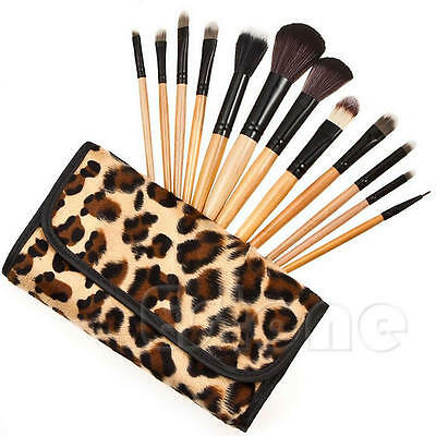 12 Pcs Fashion Cosmetic Professional  Tool Set Brushes Leopard Bag Makeup Brush