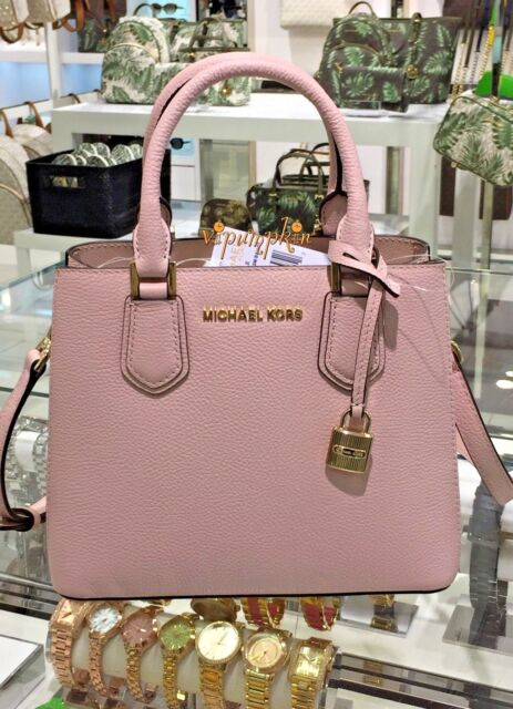 0ca6eb8c306025 Michael Kors Adele Pebbled Leather Satchel MD Messenger Bag Blossom Ballet