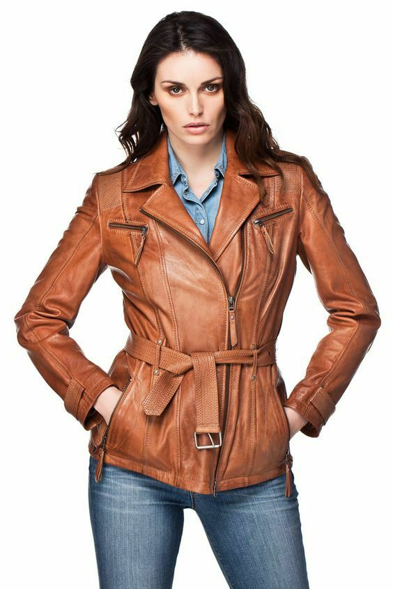 New Women's Classic Wear Genuine Leather Coat Stylish Brown Waist Belted Jacket