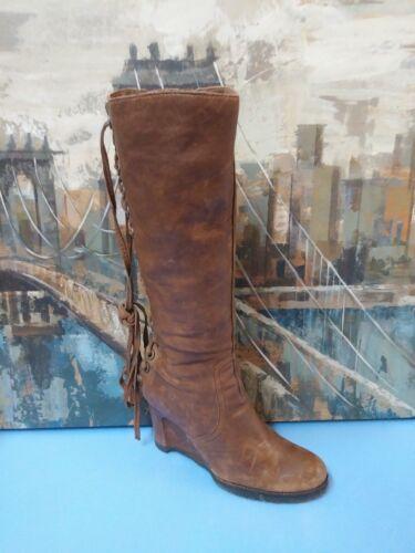 APEPAZZA Arpa Boot Knee High Tall Lace Up Brown Di