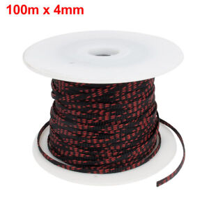4mm-Black-Red-Expandable-Braid-DENSE-PET-Cable-Sleeve-100m-High-Density