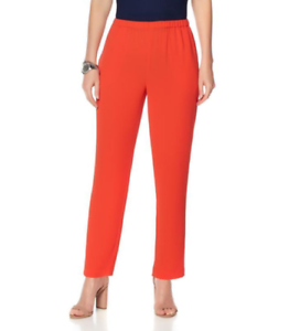Vince Camuto Crepe Slim-Leg Ankle Pant in Red Hot S