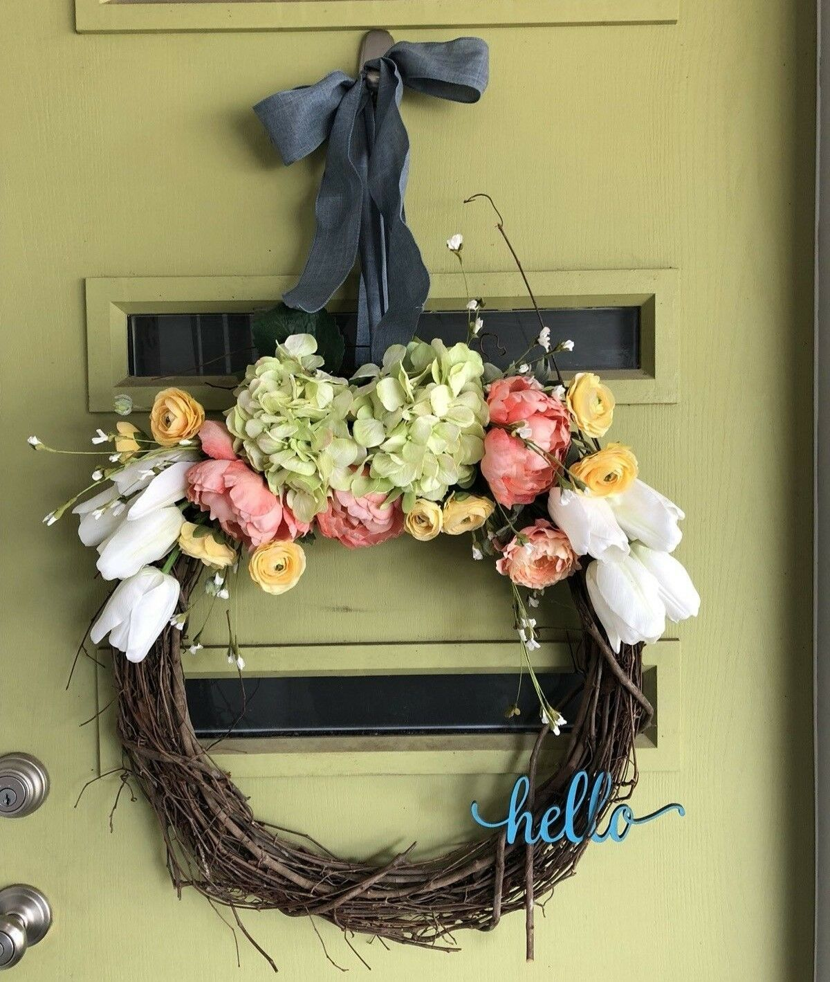 Beautiful Floral Spring Wreath- FREE SHIPPING