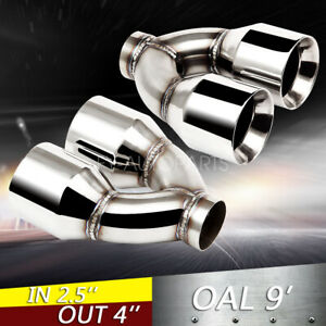 """2PC 2.5/"""" Inlet Quad 4/"""" Out 9/"""" Long Dual Wall 304 Stainless Steel Exhaust Tips"""