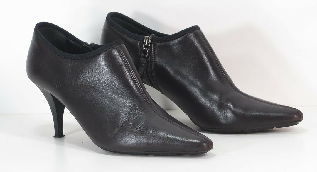 PRADA Brown Leather Low Short Ankle Boots Booties Heels Sz US 10.5 EU 30 1 2