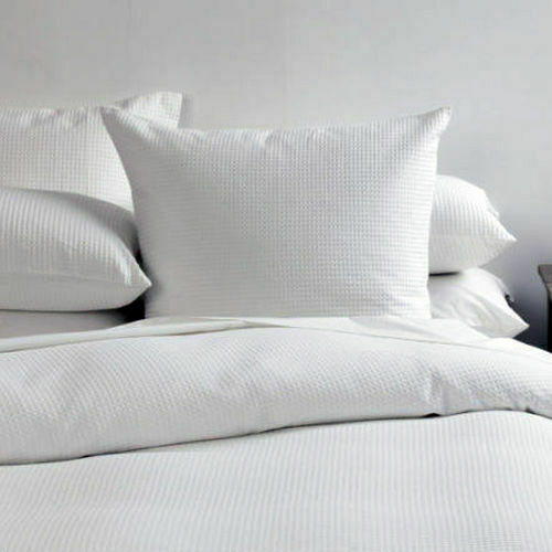 Premium Quality Textured Waffle-Weave Cotton Decorative Pillow White 65x65cm